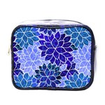 Azurite Blue Flowers Mini Toiletries Bags