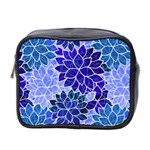 Azurite Blue Flowers Mini Toiletries Bag 2-Side