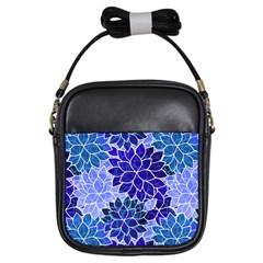 Azurite Blue Flowers Girls Sling Bags
