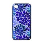Azurite Blue Flowers Apple iPhone 4 Case (Black)