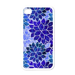 Azurite Blue Flowers Apple iPhone 4 Case (White)