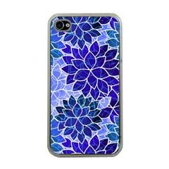 Azurite Blue Flowers Apple iPhone 4 Case (Clear)