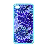 Azurite Blue Flowers Apple iPhone 4 Case (Color)