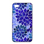 Azurite Blue Flowers Apple iPhone 4/4s Seamless Case (Black)