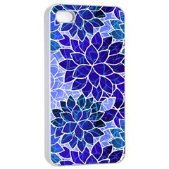 Azurite Blue Flowers Apple iPhone 4/4s Seamless Case (White)