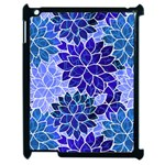 Azurite Blue Flowers Apple iPad 2 Case (Black)