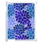Azurite Blue Flowers Apple iPad 2 Case (White)