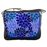 Azurite Blue Flowers Messenger Bags