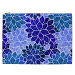 Azurite Blue Flowers Cosmetic Bag (XXL)