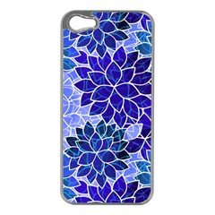 Azurite Blue Flowers Apple Iphone 5 Case (silver) by KirstenStar