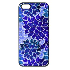 Azurite Blue Flowers Apple iPhone 5 Seamless Case (Black)