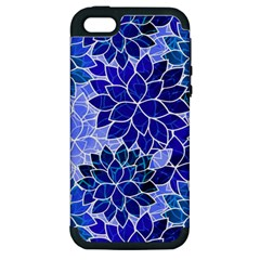 Azurite Blue Flowers Apple iPhone 5 Hardshell Case (PC+Silicone) by KirstenStar