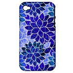 Azurite Blue Flowers Apple iPhone 4/4S Hardshell Case (PC+Silicone)