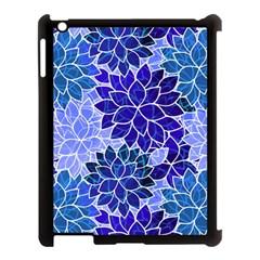 Azurite Blue Flowers Apple Ipad 3/4 Case (black) by KirstenStar