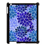 Azurite Blue Flowers Apple iPad 3/4 Case (Black)