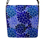 Azurite Blue Flowers Flap Messenger Bag (L)
