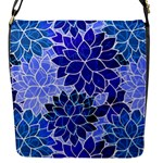 Azurite Blue Flowers Flap Messenger Bag (S)