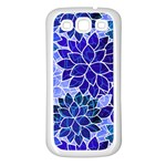 Azurite Blue Flowers Samsung Galaxy S3 Back Case (White)
