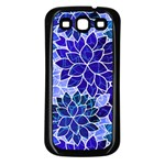 Azurite Blue Flowers Samsung Galaxy S3 Back Case (Black)