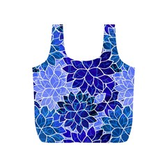 Azurite Blue Flowers Full Print Recycle Bags (S)