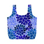 Azurite Blue Flowers Full Print Recycle Bags (M)