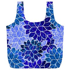 Azurite Blue Flowers Full Print Recycle Bags (L)