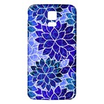 Azurite Blue Flowers Samsung Galaxy S5 Back Case (White)