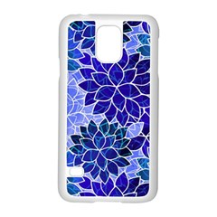 Azurite Blue Flowers Samsung Galaxy S5 Case (white) by KirstenStar