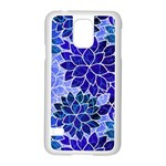 Azurite Blue Flowers Samsung Galaxy S5 Case (White)