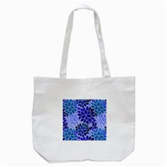 Azurite Blue Flowers Tote Bag (White)