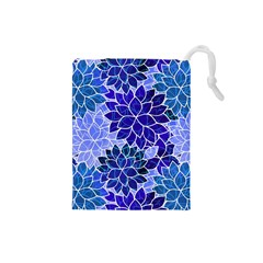 Azurite Blue Flowers Drawstring Pouches (Small)