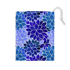 Azurite Blue Flowers Drawstring Pouches (Large)