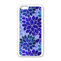 Azurite Blue Flowers Apple iPhone 6/6S White Enamel Case by KirstenStar