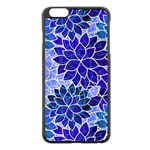 Azurite Blue Flowers Apple iPhone 6 Plus/6S Plus Black Enamel Case