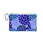Azurite Blue Flowers Canvas Cosmetic Bag (S)