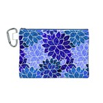 Azurite Blue Flowers Canvas Cosmetic Bag (M)