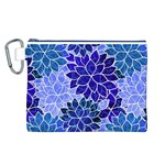 Azurite Blue Flowers Canvas Cosmetic Bag (L)