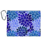Azurite Blue Flowers Canvas Cosmetic Bag (XL)