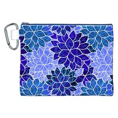 Azurite Blue Flowers Canvas Cosmetic Bag (XXL) by KirstenStar