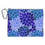 Azurite Blue Flowers Canvas Cosmetic Bag (XXL)