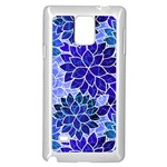 Azurite Blue Flowers Samsung Galaxy Note 4 Case (White)