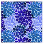 Azurite Blue Flowers Large Satin Scarf (Square)