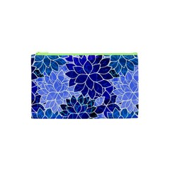 Azurite Blue Flowers Cosmetic Bag (xs) by KirstenStar