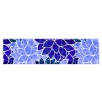 Azurite Blue Flowers Satin Scarf (Oblong)