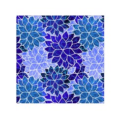 Azurite Blue Flowers Small Satin Scarf (square) by KirstenStar