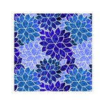 Azurite Blue Flowers Small Satin Scarf (Square)