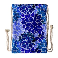 Azurite Blue Flowers Drawstring Bag (large) by KirstenStar
