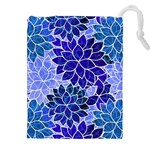 Azurite Blue Flowers Drawstring Pouches (XXL)