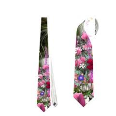 Emma In Flowers I, Little Gray Tabby Kitty Cat Neckties (one Side)