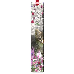 Emma In Flowers I, Little Gray Tabby Kitty Cat Large Book Marks by DianeClancy